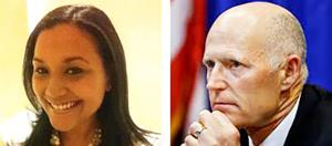 Jeri Bustamante (left) spokesperson for Gov. Scott (right), was killed in an Islamorada boating accident on Sunday