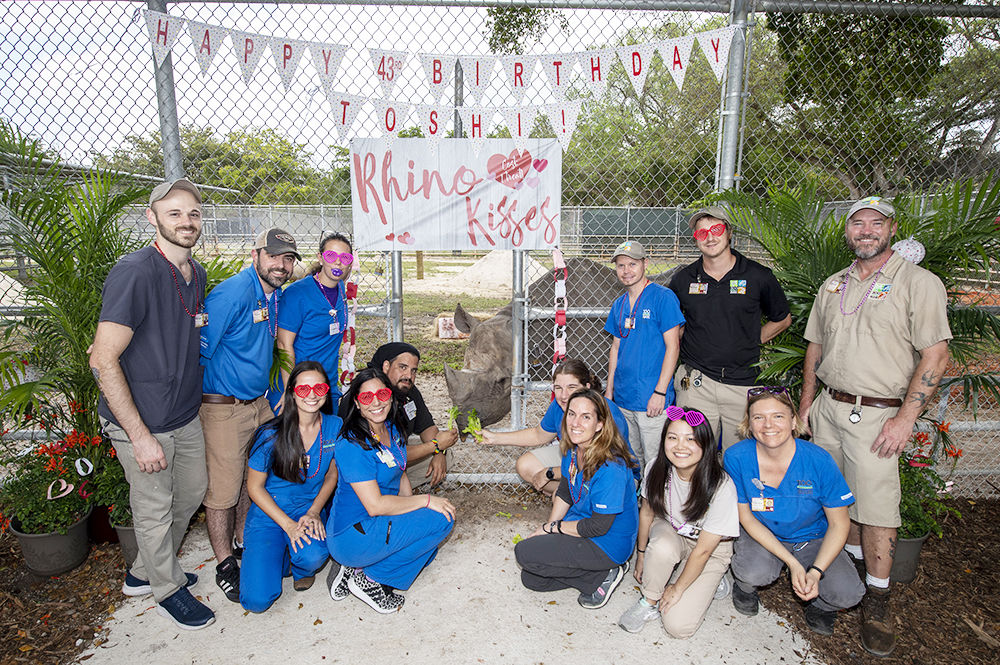 The Animal Health and Keeper team that cares for Toshi.
