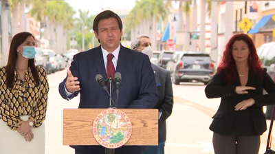 Gov. Ron DeSantis at a press conference Thursday in Doral announcing the Phase One reopening of Miami-Dade and Broward counties.