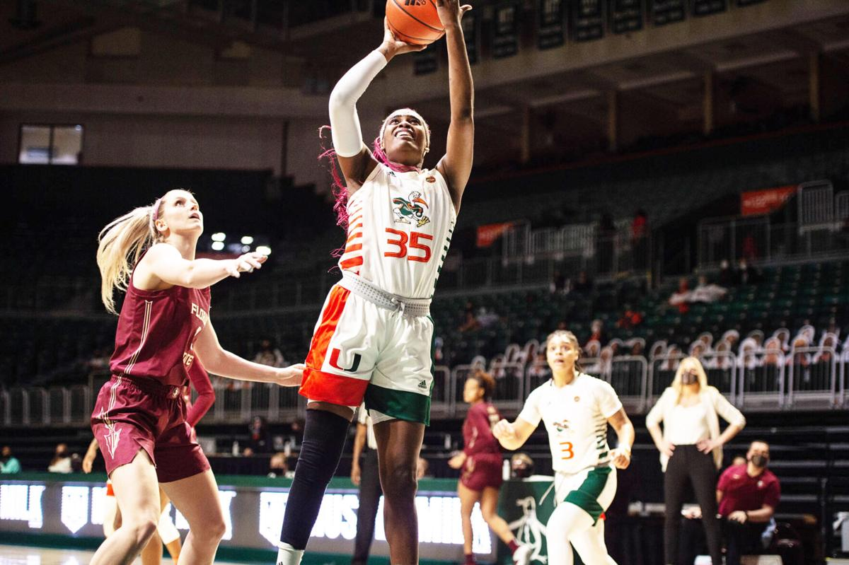 """Naomi Mbandu, a 6'2"""" Junior Forward led the Lady Canes with 16 points."""