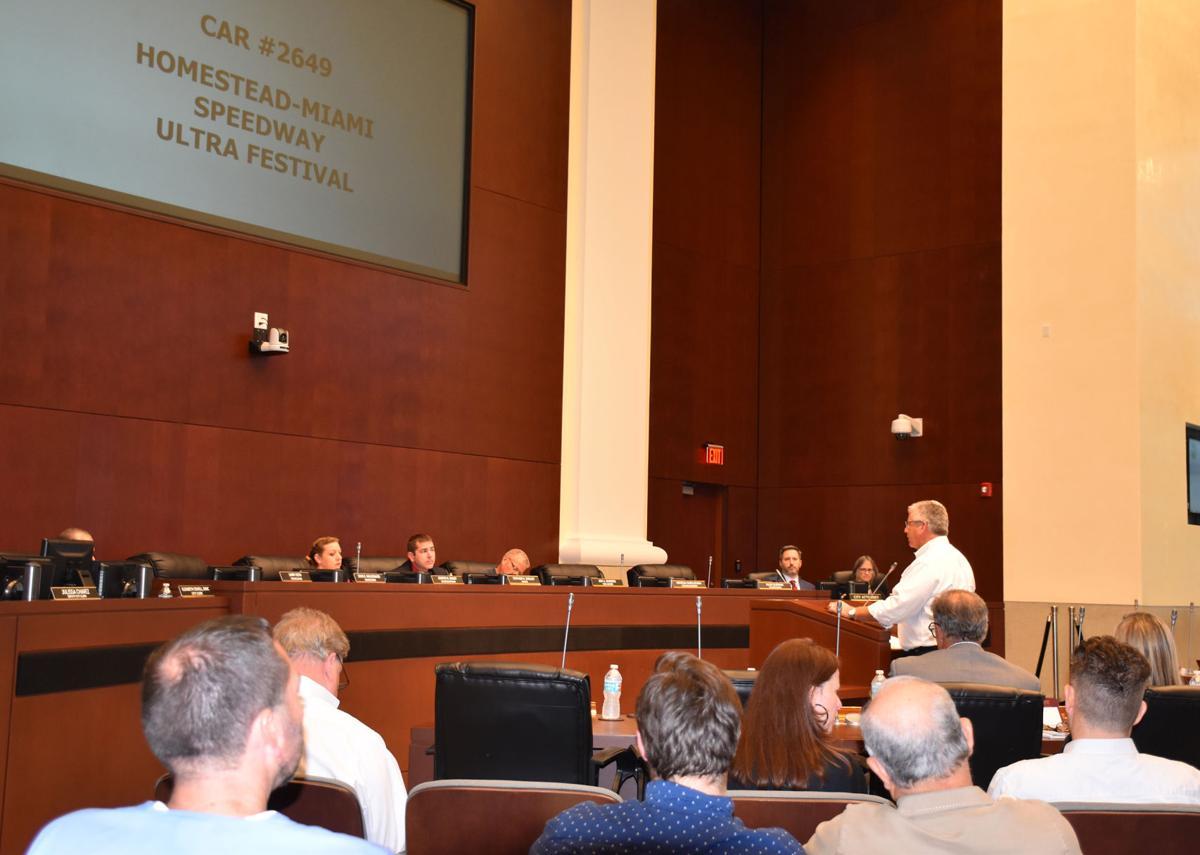 Al Garcia, vice-president, Homestead-Miami Speedway, speaks to council on their behalf