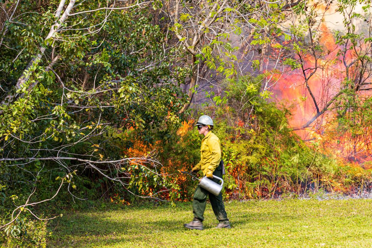 Helping with the prescribed burn at Everglades National Park is Kaitlyn Bergez,  one of the augmented personnel in from Great Smoky Mountains National Park.