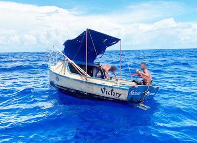 A Cuban migrant vessel off the coast of Key Largo.