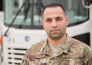 Staff Sgt. Fadi Chreim, a 386th Expeditionary Logistics Readiness Squadron vehicle operations dispatch chief, poses for a photo at an undisclosed location in Southwest Asia April 11, 2017. Chreim joined the Air Force Reserve in 2012 as appreciation for the opportunities the U.S. provided him as an immigrant. Chreim is deployed from the 482nd Fighter Wing, Homestead Air Reserve Base, FL