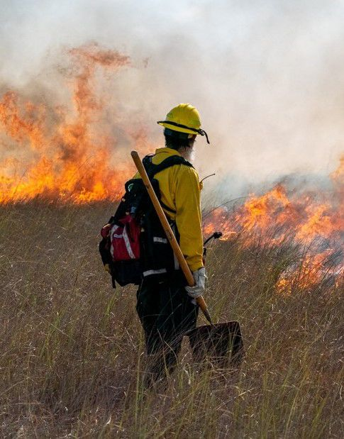 Firefighter in the thick of it.