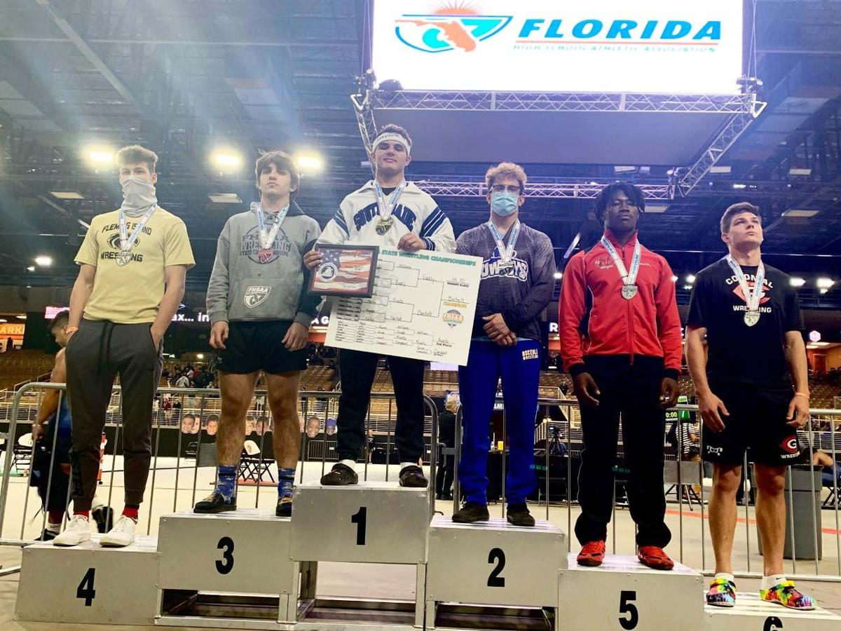 South Dade freshman Sawyer Bartelt capped off an undefeated 35-0 season with a state championship win in the 195 over Osceola senior Nolin Eaddy.