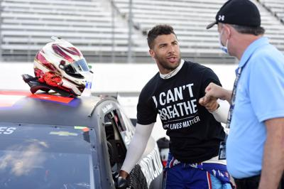 "A photo from Bubba Wallace's twitter page stating, ""Together, we're growing, and will continue to grow."""