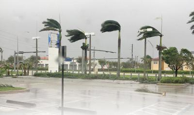 The Largo Honda dealership in Homestead weathers the hurricane force winds of  Hurricane Irma.