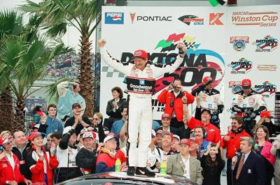 Dale Earnhardt celebrating his ony Daytona 500 win in 1998.