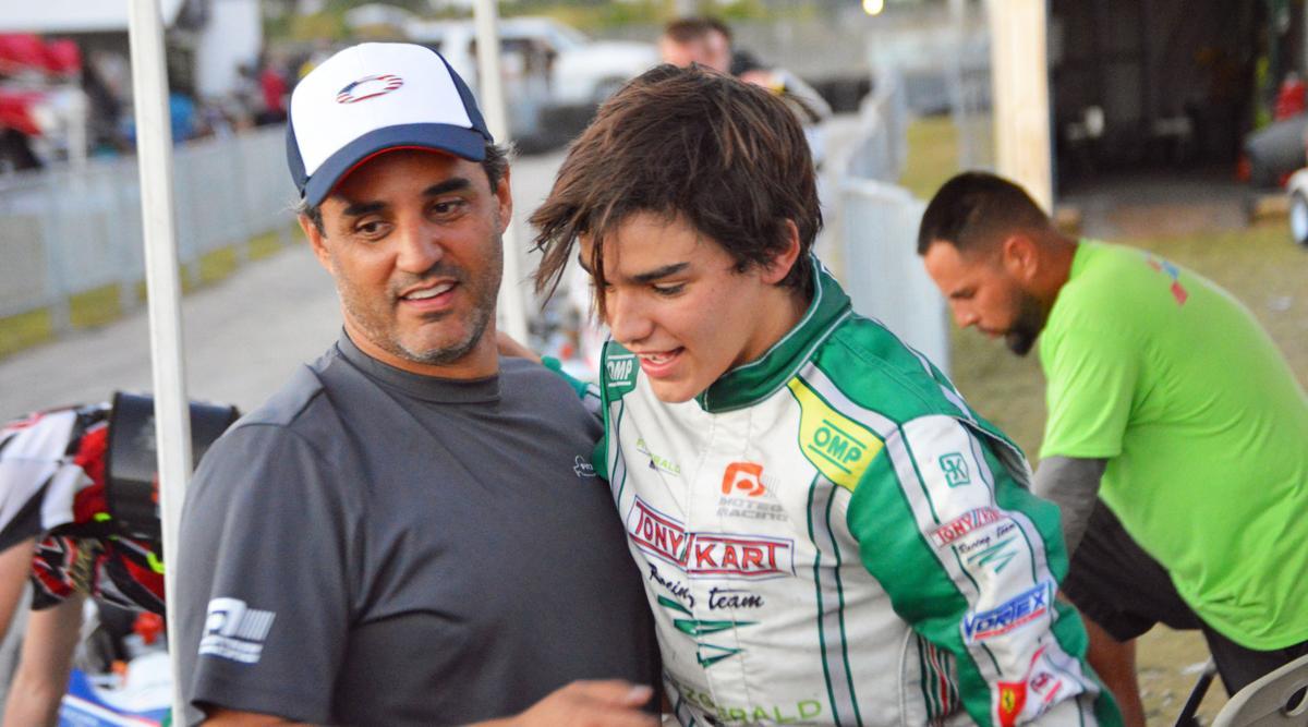 Sebastian Montoya and his dad Juan Pablo Montoya  celebrating after the win.