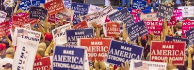 Campaign signs in support of President Trump