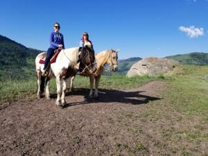 Michelle and Patti trailriding in Wyoming