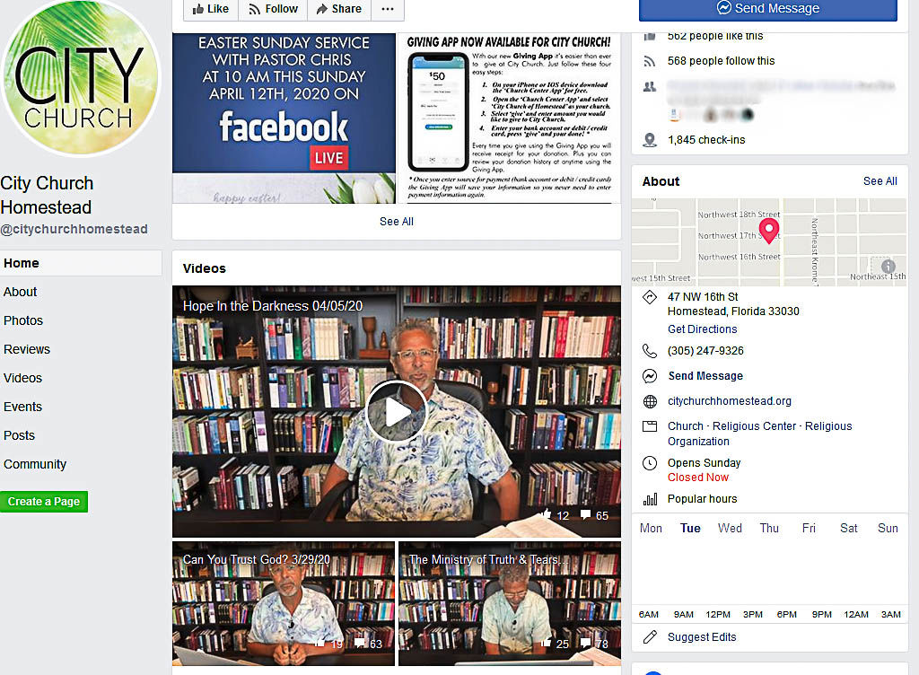 Pastor Chris Coppola of City Church is among those who offer multiple connectivity through  their Facebook page.