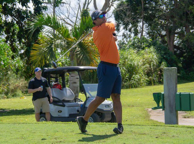 Right: Homestead Councilman Elvis Maldonado supported the good cause.  Pictured here teeing off at Redland CC.