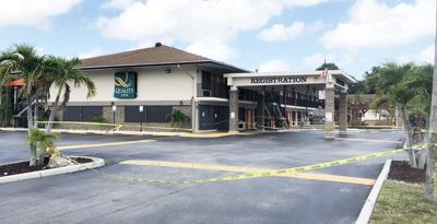The Quality Inn in Florida City is boarded up and taped off to keep people out since Miami-Dade County closed all county hotels weeks ago.