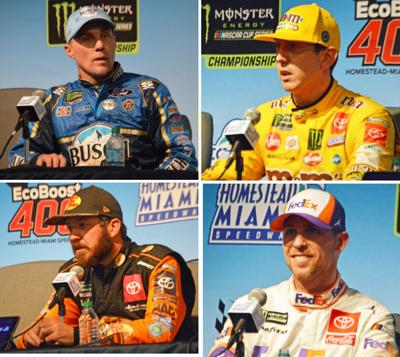 The Final Four Drivers in tomorrow's Ford EcoBoost 400, from left: Kevin Harvick, Kyle Busch, Denny Hamlin and Martin Truex Jr.