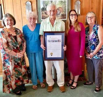 From left: County Commissioner Levine Cava, Joyce Gann, Don Gann, Janet Gil  and Joy Klein.