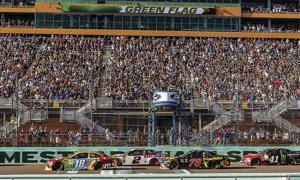 The grandstands were packed, watching the excitement at Homestead-Miami Speedway