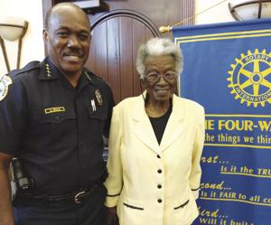Homestead Police Chief Al Rolle and Miss Juanita Smith at the Homestead Rotary meeting