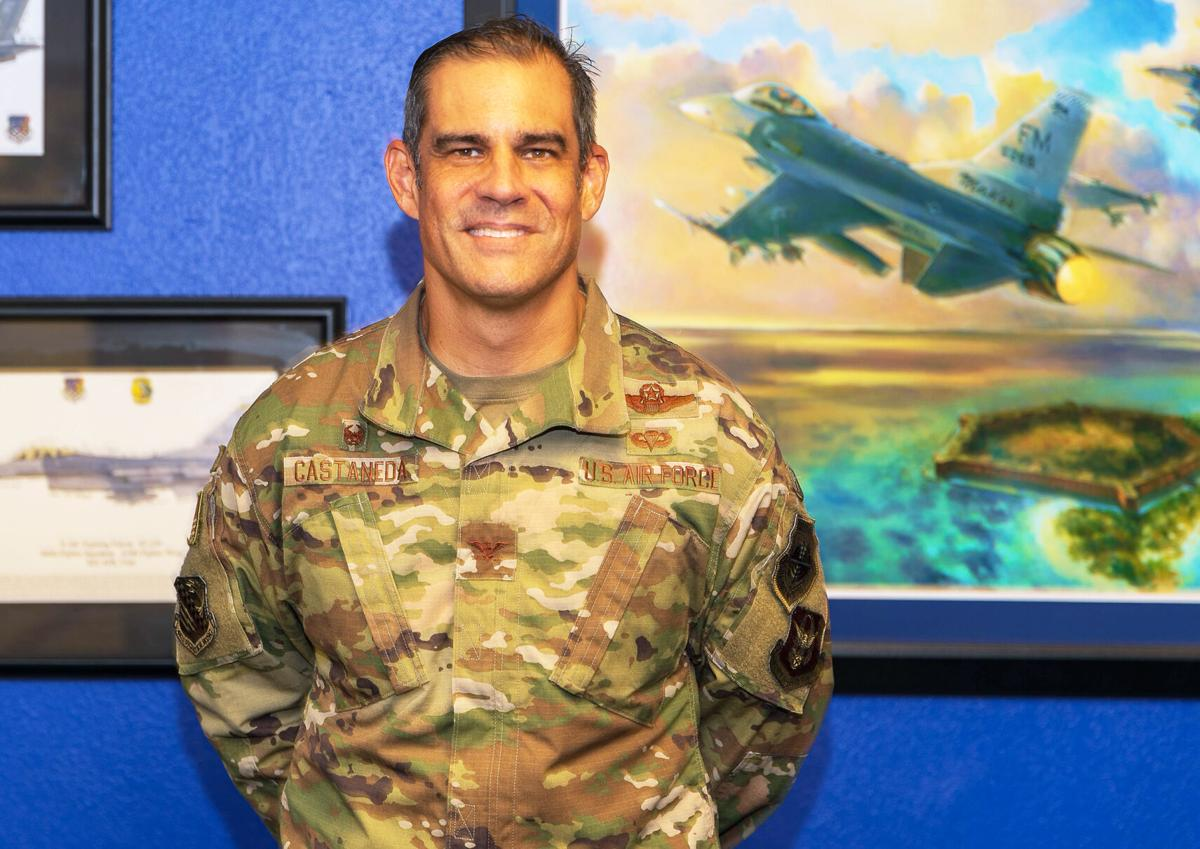 CDR482-1 Colonel David M. Castaneda Commander of the 482nd Fighter Wing and Homestead Air Reserve Base in his office.