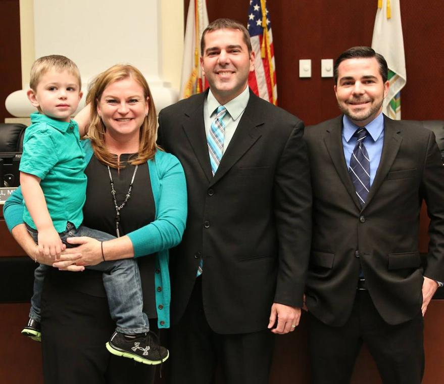 The Shelley family at Steve's swearing in: son, Jackson Shelley; wife, Jenn Shelley; Steve Shelley, and brother, Greg Shelley.