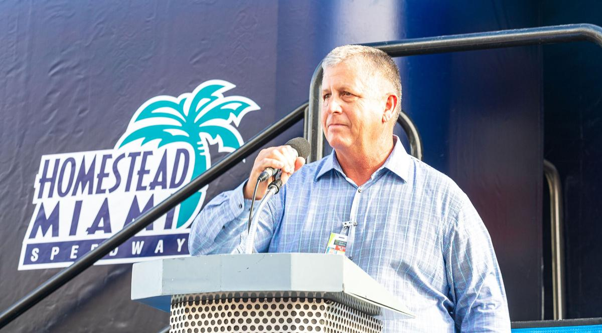 Al Garcia, addressing the grandstands at Homestead-Miami Speedway.