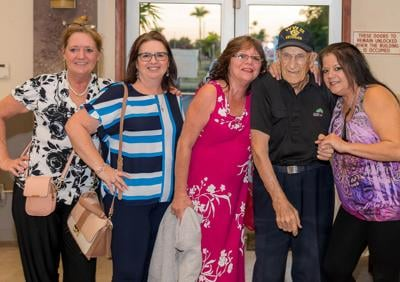 What better way to celebrate turning 99? (From left) Lynn Smith, Michelle Grillo, Karen Harrigan, Ray Surette, and Lilie Raymond.