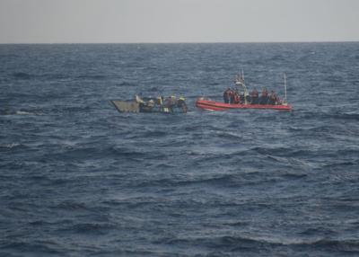 A Coast Guard Cutter Charles Sexton small boat crew interdict a Cuban migrant vessel and safely embark the migrants 25 miles southeast of Tavernier Creek, on Jan. 2, 2020. Approximately 52 Cuban migrants have attempted to illegally enter the U.S. via the maritime environment in fiscal year 2020, which began Oct. 1, 2019, compared to 454 Cuban migrants in fiscal year 2019.