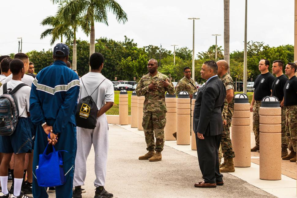 Major General Fletcher, Commander, SOCSOUTH, welcomes cadets to their Headquarters.