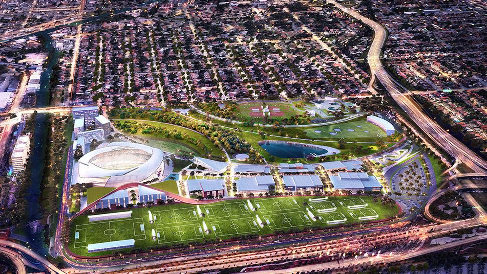 Rendering of David Beckham's soccer stadium in Miami Dade.