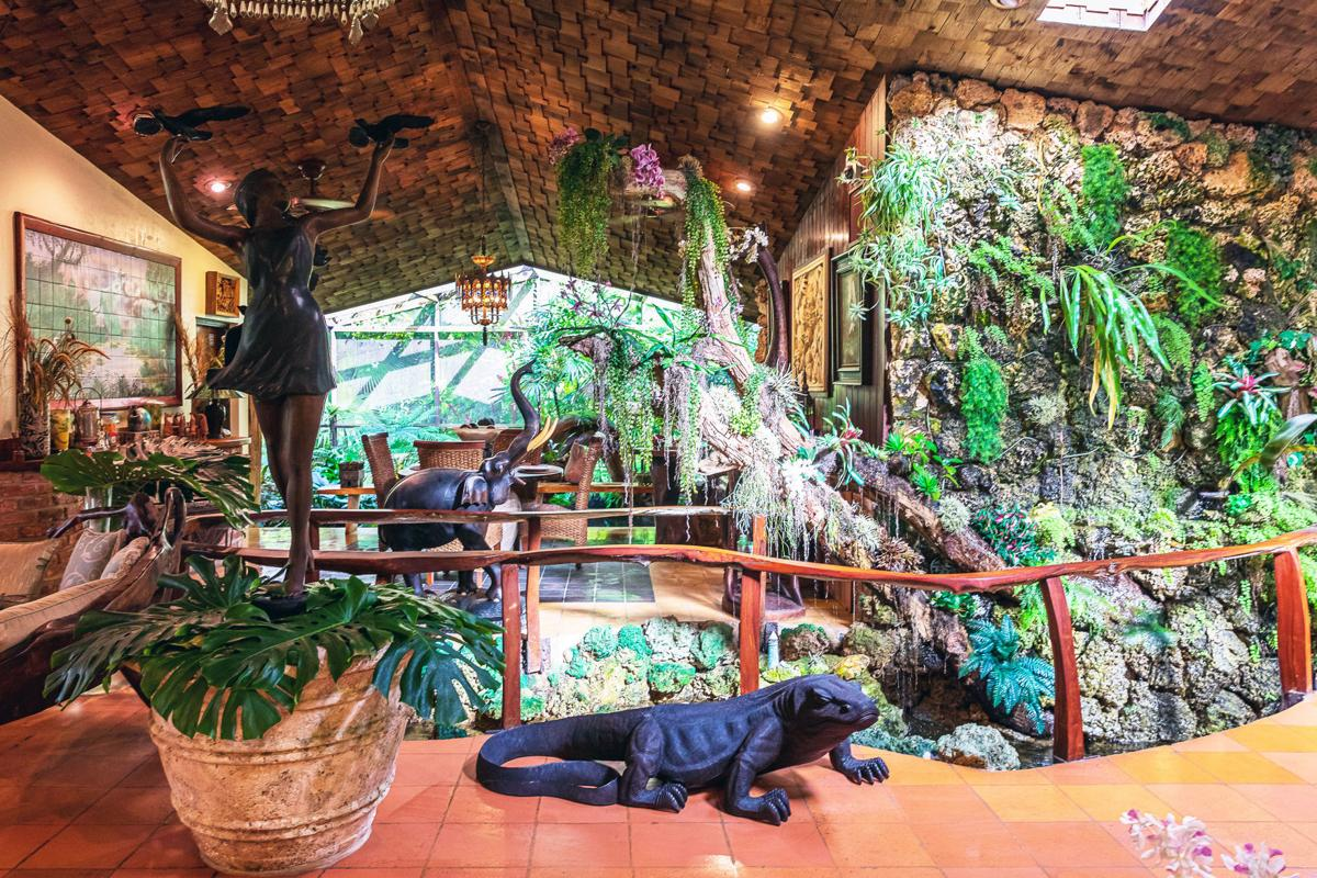 The interior of the main house has plants, water features, sculptures and much more.