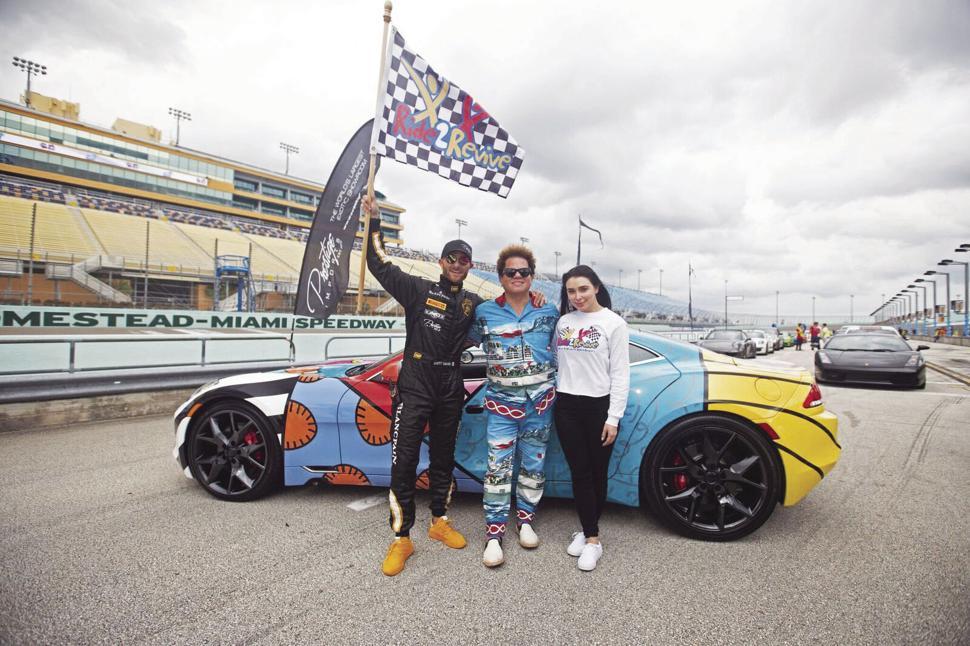 """Brett David, Romero Britto, Brooke David at last Sunday's """"Ride2Revive.""""   Photo: H-MS"""