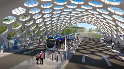 Artists rendering of a BRT South Corrider Rapid Transit station.