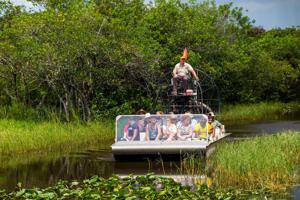 A group of tourists see the Everglades by airboat