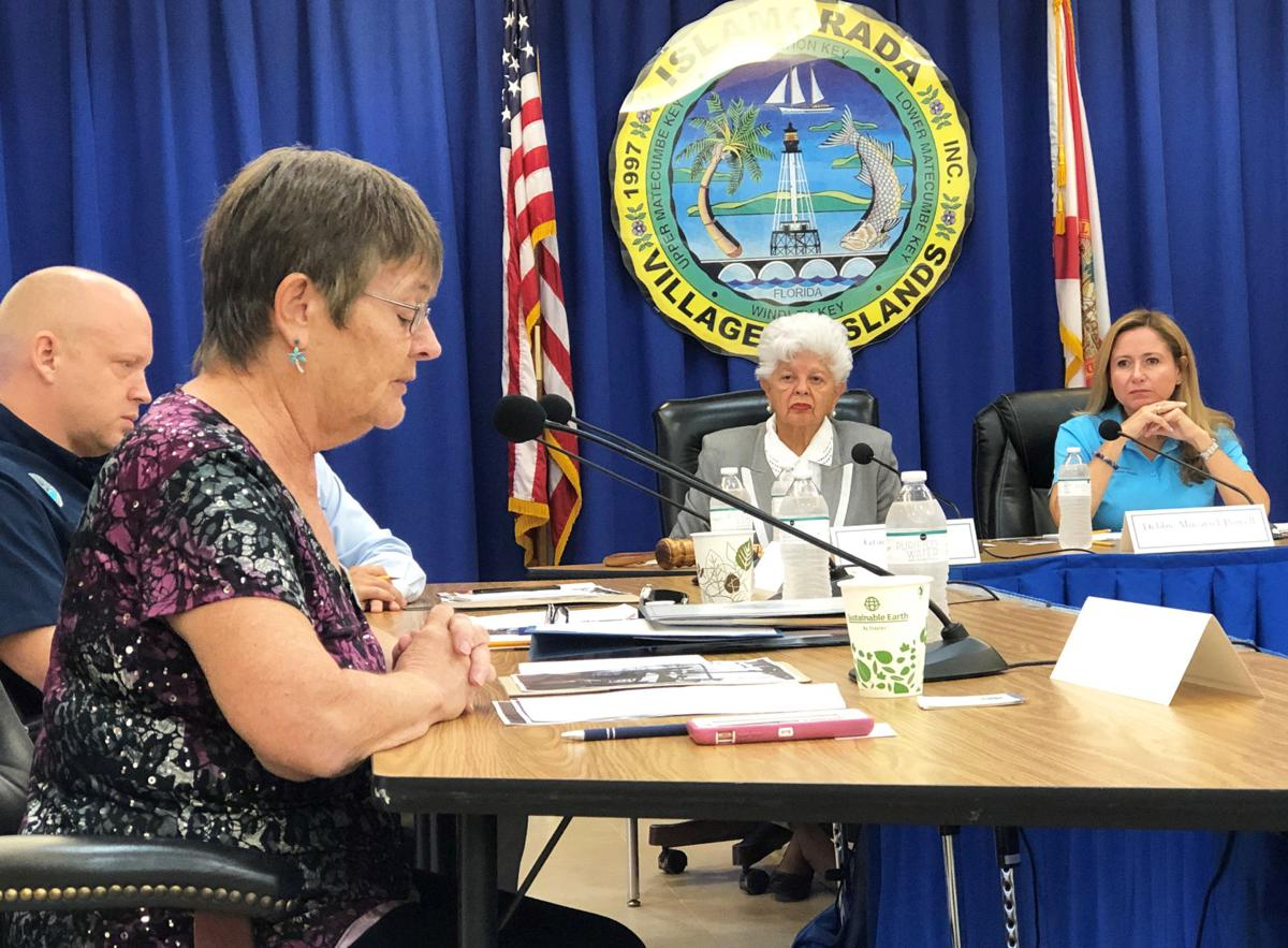 Islamorada Mayor Deb Gillis addresses the roundtable of Florida water stake-holders.  With her at the table (from left) Florida Department of Environmental Protection Secretary Noah Valenstein, Rep. Grace Napolitano and Rep. Debbie Mucarsel Powell.
