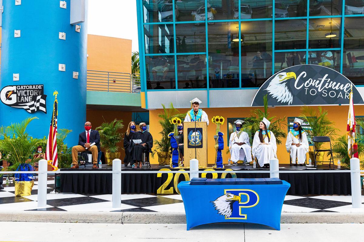 Palm Glades Valedictorian Jordan Sardinas gives his address.