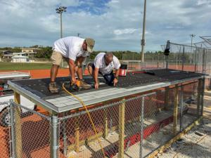 After sustaining major Hurricane Irma damage, Harry Harris Park ballfields are set to reopen with a new dugout roof, new bleachers and electric and other repairs to the concession stand.