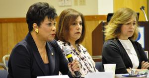 From left: Dr. Jeanne Jacobs, president of Miami-Dade College, Lourdes Evora  from State Rep. Nuñez's office, and Gisela Marti, Vice President, Marketing & Tourism, GMCVB.