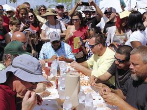 The crowd loved the shrimp eating contest!