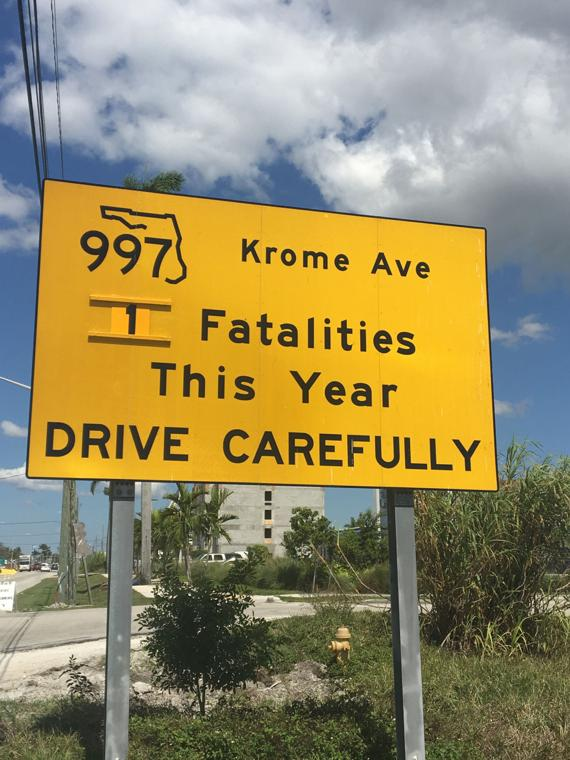 Signage alerting drivers to fatalities along Krome Ave in Florida City
