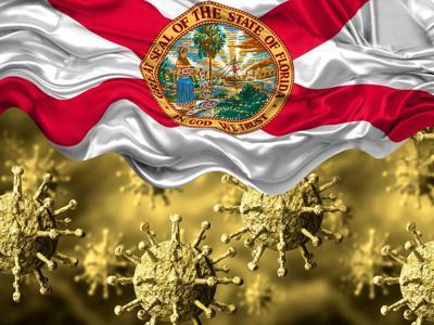 enlarged coronavirus, covid-19 under the flag of Florida state. Pandemic of respiratory disease
