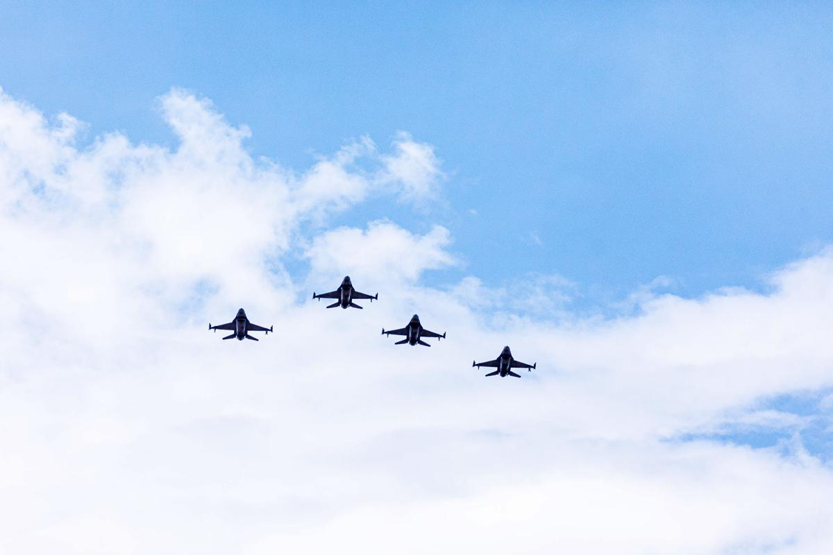 Four F-16Cs from the 482nd Fighter Wing Homestead Air Reserve Base conducted an America Strong Flyover of over 30 Hospitals and Clinics on a path stretching  from Key West, up the Keys, through Miami-Dade and up into Palm Beach.