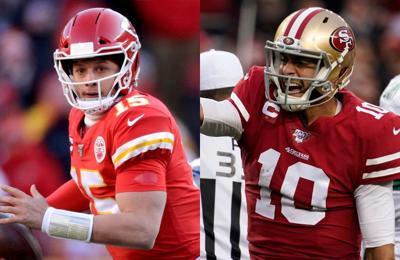 From left: Kansas City Chiefs quarterback Patrick Mahones and  San Francisco Forty Niners quarterback Jimmy Garoppolo.