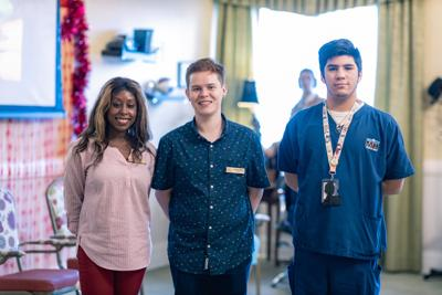 Palace Gardens Interns (from left): Christine Dorsainsville (23) and Justin Sisson (22) and Jonathan Puerto (17).