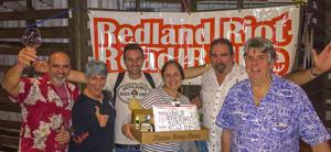 Ruth Silva's Crew are the 2018 Redland Riot Road Rallye Champs (left to right): Javier Santa Cruz, Jessica Fiallo, Giuseppe DiBella, Ruth Silva, Brent Silva, Robert Burr, organizer.   Team members not pictured:  Rafael Lopez, Andi Phillips Lopez.