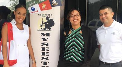 Left to right at a My Seester Meet and Greet. Stephanie Wong, then Program  Director of the TRIO Educational  Opportunity Center, Makissa Lewis, founder of My Seester, and  Jorge Martinez, veteran outreach specialist