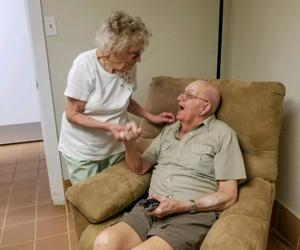 Ethel and William Dittrich emotionally reunite at Bayshore Manor on Stock Island two days after he disappeared from their home in Naples.