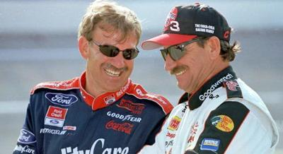 Dale and Dale.    Dale Jarrett (left) with Dale Earnhardt having a laugh.