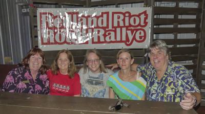 Left to right: Robin Burr, organizer; 2019 winners, The Furloughed Team members: Patty Barry,  Barbara Klein, Shannon Murphy; and Redand Riot Road Rallye founder Robert A. Burr.