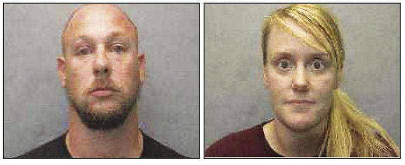 Arrested for theft were husband and wife (from left) Lee Roe, 36 and Ashley Roe, 34.